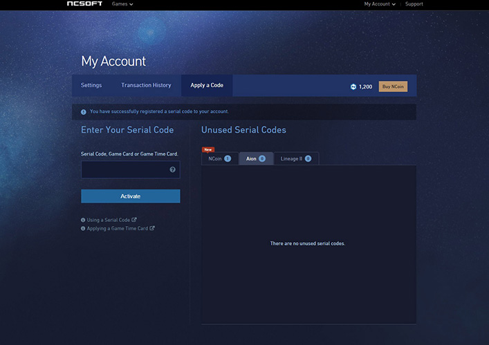 Aion - My Account