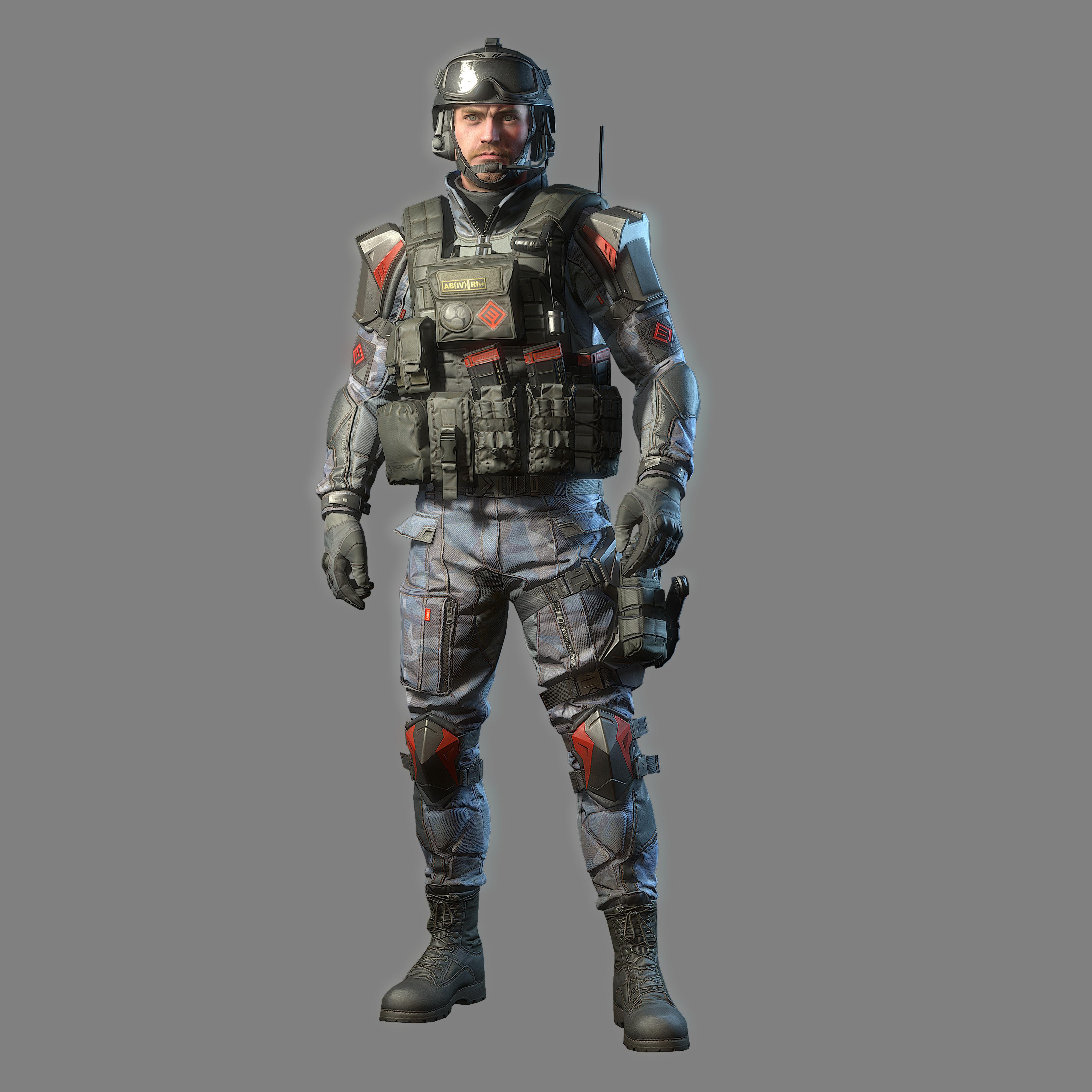 basic uniform soldier 02 bw
