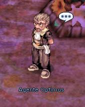 personagem Agente Optimus, vestido com um traje nobre marrom e com um tecido branco amarrado na cintura. Ao fundo, um terreno arroxeado. Acima do personagem, um balão de diálogo com reticências dentro.